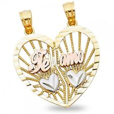 14k Yellow White Rose Gold Heart Te Amo Breakable Pendant Couples Love Charm