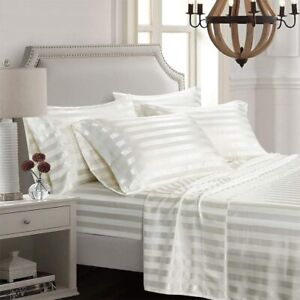 AiMay 6 Piece Satin Bed Sheet Set Italian Style Stripes Bedding Sets Deep Pocket
