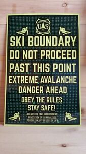 """FOREST SERVICE SKI BOUNDARY! 8""""x12"""" METAL SIGN IN ORIGINAL CELLOPHANE SLEEVE"""