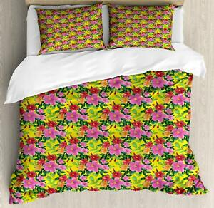 Tropical Hibiscus Duvet Cover Set Twin Queen King Sizes with Pillow Shams