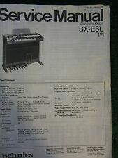 Technics Electronic Organ Service Manual SX E8L Wiring Schematics Parts List