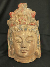 Large Carved and Painted Wooden Bodhisattva Head