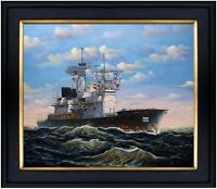 Framed Naval Vessel #56, Hand Painted Oil Painting, 20x24in