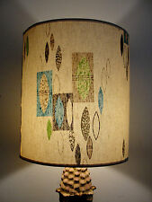 LAMP SHADE RETRO MODERN CONTEMPORARY GEOMETRIC LEAF AQUA BROWN LIME GREEN VTG