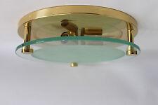 Design Lampe Messing Glas 60er 70er Brass & Glass Sconce Flush Mount Luxus 70s