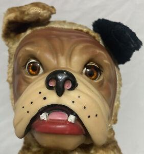 Gund Bull Dog Rubber Face Sleep Eye Plush Stuffed Animal Toy