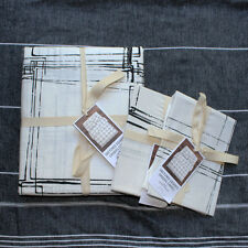 West Elm Sketched Squares Duvet Cover shams king  3pc black white