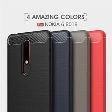 Shockproof Carbon Fiber Soft TPU Case + Screen Protector For Nokia 2 3 5 6 7 8 9