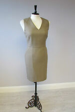 L K BENNETT WOOL MIX SHIFT DRESS - SIZE 16 - CAMEL - LINED