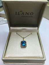 """Emerald-Cut Blue Topaz and Diamond Necklace in 14k Yellow Gold 2.32 TCW w 16"""" ch"""