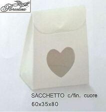 Scatola bomboniera Sacchetto c/finest. cuore bianco 60x35x80mm- n 40pz art 16899