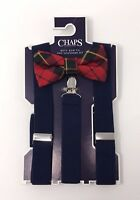 NEW CHAPS BOYS RED PLAID BOW TIE SUSPENDER SET FORMAL WEDDING EASTER CHURCH BLUE