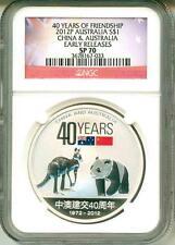 2012 S$1 Australia Kangaroo 40 Years Of Friendship China & Australia ER NGC SP70