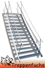 14 Stufen Stahltreppe beidseitig. Geländer Breite 100cm Geschosshöhe 210-280cm