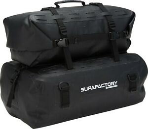 Tail Bag Kit Waterproof Cargo & Dual Roll For Motorcycle & Motorbike 66L Black
