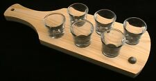 Cricket Ball Set of 6 Shot Glasses with Wooden Paddle Tray Holder 87