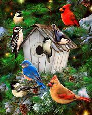 """Garden Birds & Birdhouse Pines Cotton Fabric Panel 35"""" x 44"""" by David Textiles"""