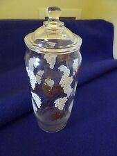 """VTG. CLEAR GLASS APOTHECARY JAR W. LID-WHITE & GOLD GRAPES AND LEAVES-8 1/2"""""""