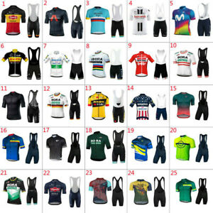 2021 Bike Team Mens Cycling Jersey Short Sleeve And Bib Shorts Sets Bicycle Suit