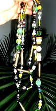 VINTAGE 60 inch NECKLACE FLAPPER style AB GLASS BEADS FX PEARLS GREAT QUALITY