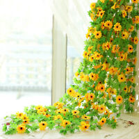 Artificial Silk Sunflower Leaves Flowers Ivy Vine Garland Party Home Decor NEW