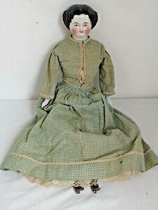 "Antique German 19"" Black Hair China Head c. 1860 Antique Green Gingham Clothes"
