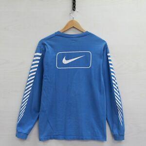 Vintage Nike Long Sleeve Shirt Size Small Blue Striped Swoosh