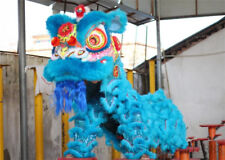 Chinese Folk art Lion Dance mascot Costume blue wool Southern Lion For two adult