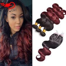 300g/3 paquetes Ombre Borgoña brasileño bodywave cabello humano 18,20,22 con Closur