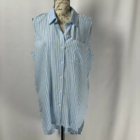 Beach Lunch Lounge Blouse NWT Blue And White Striped Button Up Top Size L