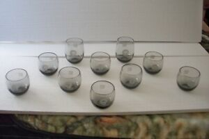 """Set of 10 Vintage Green Bay Packers 3 & 4"""" Smoked Glasses Roly Poly Cocktail Bar"""