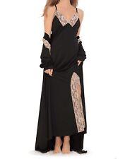 Amoureuse Plus Size Black Long Peignoir Set Size 5X(38W/40W)