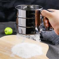 Manual Baking Mesh Flour Icing Sugar Stainless Steel Shake Sieve Cup Sifter X8U4