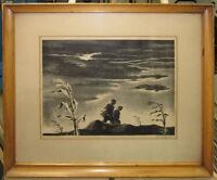 "Georges Schreiber 1942 Social Realist Litho ""Twilight"" Listed Regionalist Artist"
