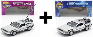 Lot des 2 DeLorean de Retour vers le Futur 1 et 2 - 1/24 Welly Voiture Miniature
