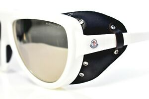 MONCLER Shield Sunglasses Genuine Leather Shield Black White 0089/21C