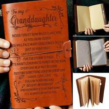 A6 To My Granddaughter Engraved Leather Journal Notebook Travel Diary Craft Gift