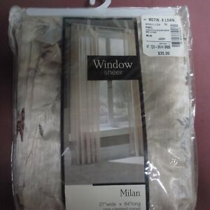 MILAN Window Sheer Panel Ivory JC Penney 27 x 84 Embroidered Flowers Leaves