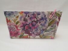 HANDMADE OILCLOTH MAKE UP BAG CASE - VOYAGE HYDRANGEA FABRIC