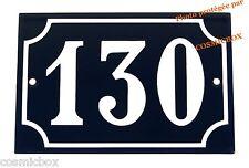 Plaque émaillée bleu et blanc NUMERO de RUE 130 émail enamel plate street number