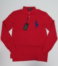 NEW Ralph Lauren Custom Fit Long Sleeve Big Pony Red Mesh Polo Shirt Sm NWT $115