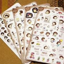 5 Sheets PVC Cute Diary Decorative Adhesive cooky's girl Ⅱ Stickers Craft Decal