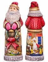 "Wooden Hand carved Santa Claus Figurine 11"" hand painted Ded Moroz"