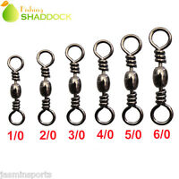 50Pcs Fishing Rolling Barrel Swivel with Solid Ring Tackle Connectors 1/0#-6/0#