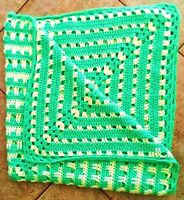 "Handmade Crochet Afghan Throw Blanket Square 46"" x 46"" Green & White Cozy Warm"