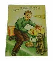 Gibson Happy Birthday Grandson RahRah Dog Vintage Greeting Card Paper Ephemera