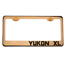 Rose Gold License Plate Frame YUKON XL Laser Engraved Aluminum Screw Cap