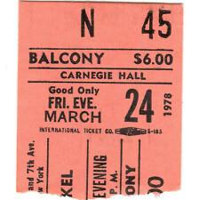 ART GARFUNKEL Concert Ticket Stub CARNEGIE 3/24/78 NYC and GUEST PAUL SIMON Rare
