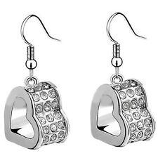 Silver Plated Shiny Bridal White Rhinestones Hearts Drop Dangle Earrings E821