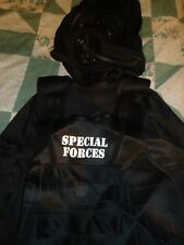 Boy's size Large 12-16 Six  Piece Black Special Forces Police Costume